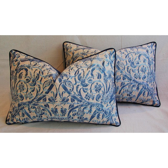 Italian Fortuny Uccelli Down Pillows - A Pair - Image 2 of 11