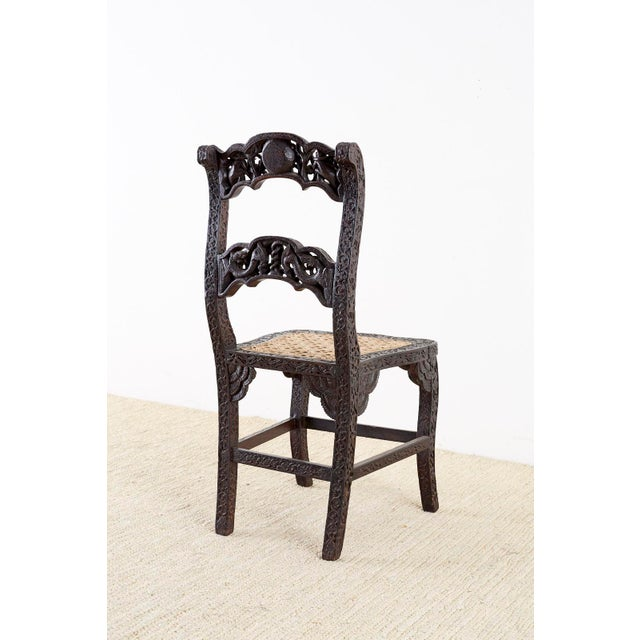 Anglo Indian Carved Rosewood Desk Chair For Sale - Image 12 of 13