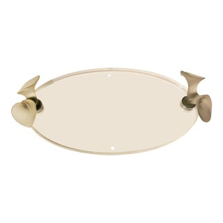 Lucite Tray With Glass Flowers Handles For Sale