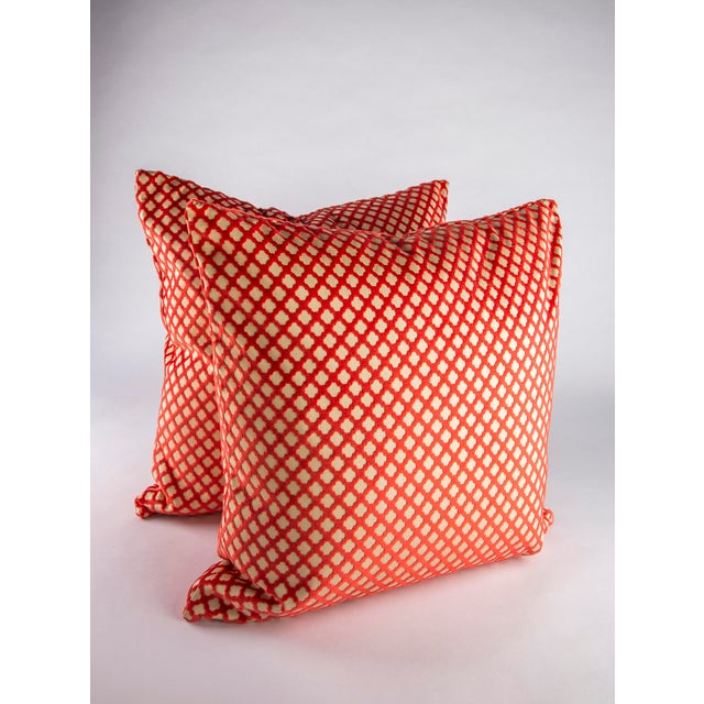 """Fantastic pair of custom 22"""" x 22"""" down pillows in Scalamandre Pomfret. In colorway Coral this to the trade cut velvet..."""