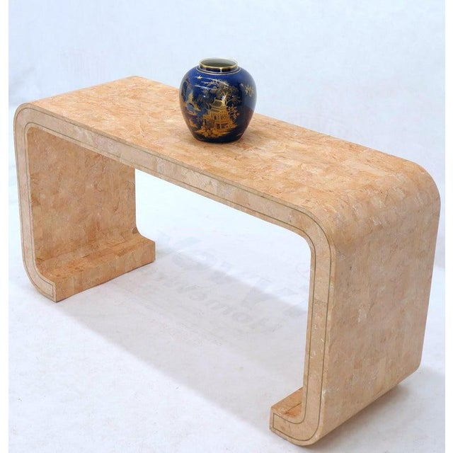 Tessellated Marble Stone Brass Inlay C Bracket Shape Console Sofa Table For Sale - Image 4 of 11