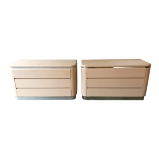 1970s Mid-Century Modern Karl Springer Style Linen Wrapped & Chrome Dressers - a Pair For Sale
