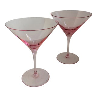 Vintage Pink Crystal Martini Glasses - Set of 2