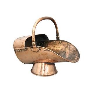 Antique English Copper Coal Scuttle For Sale