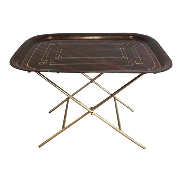 French Brass Tray Table with a Lacquer and Gold Metal Top For Sale