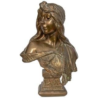 Art Nouveau Bronze Bust of a Woman by Emmanuel Villanis For Sale