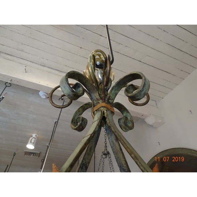 Late 19th Century Wrought Iron French Chandelier For Sale - Image 5 of 12