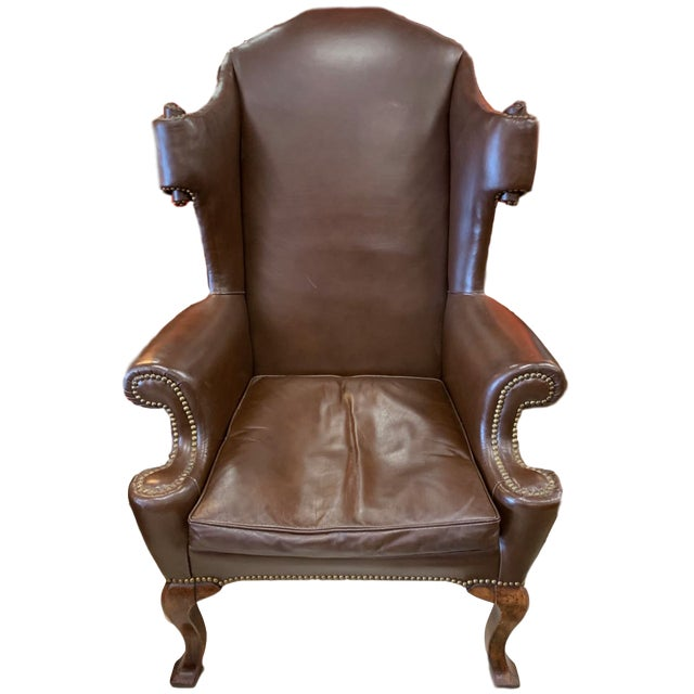 Vintage 18th Century Style Scrolled Wing Chair For Sale - Image 13 of 13