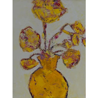"Bill Tansey ""Yellow"" Abstract Floral Oil on Canvas For Sale"