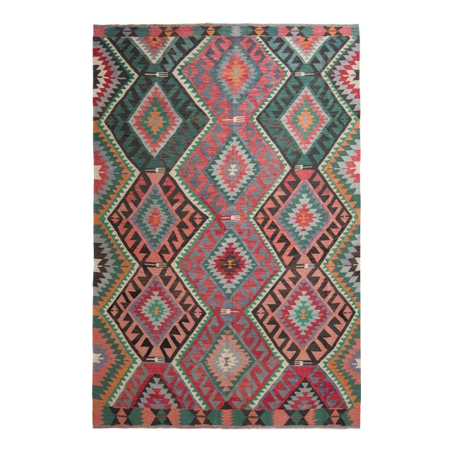 Mid-Century Vintage Kilim Rug in Green Pink Multicolor Tribal Geometric Pattern For Sale
