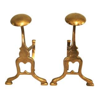 Petite English Brass Firedogs - A Pair