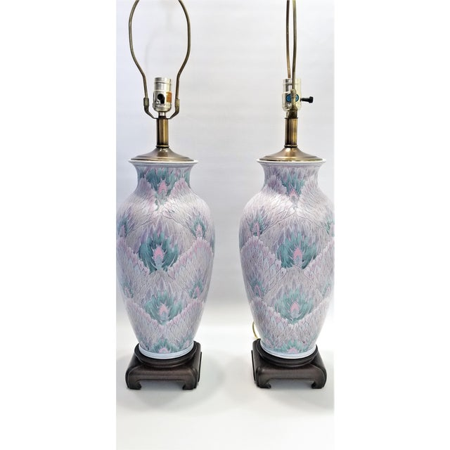 Vintage Peacock Phoenix Bird Feather Ceramic Porcelain Chinese Table Lamps -Pair- Asian Mid Century Modern Boho Chic Tropical Coastal Palm Beach Qing For Sale - Image 9 of 12