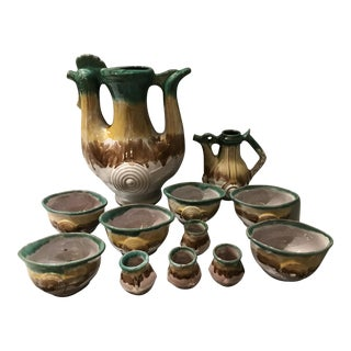 Mid-Century Modern Ceramic Rooster Pitcher, Creamer & Matching Bowls - 12 Pieces For Sale