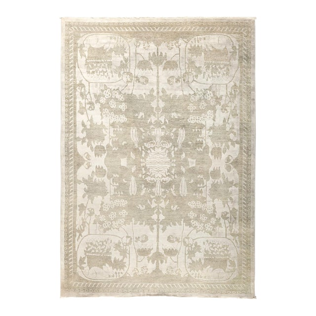 """New Silver Hand-Knotted Rug - 5' 10"""" x 8' 5"""" - Image 1 of 3"""