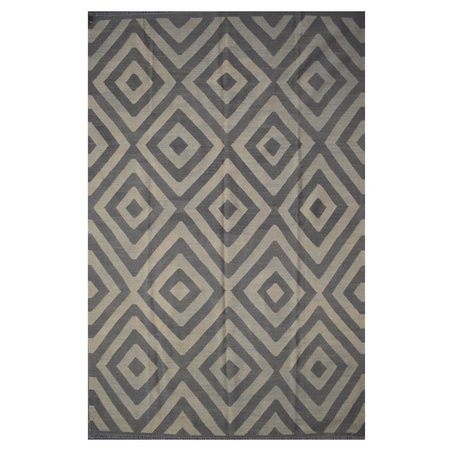 Contemporary Afghan Kilim Rug - 6'6'' X 10'2'' For Sale - Image 4 of 4
