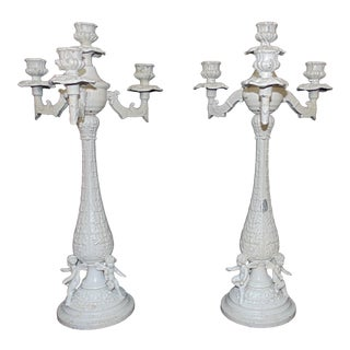 White Antique Candelabra with Cherubs Candle Holders Victorian Shabby Cottage Chic - a Pair For Sale