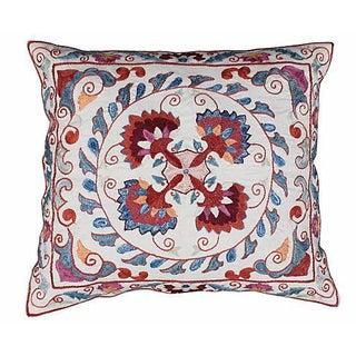 Silk-Embroidered Red & Blue Uzbek Sham