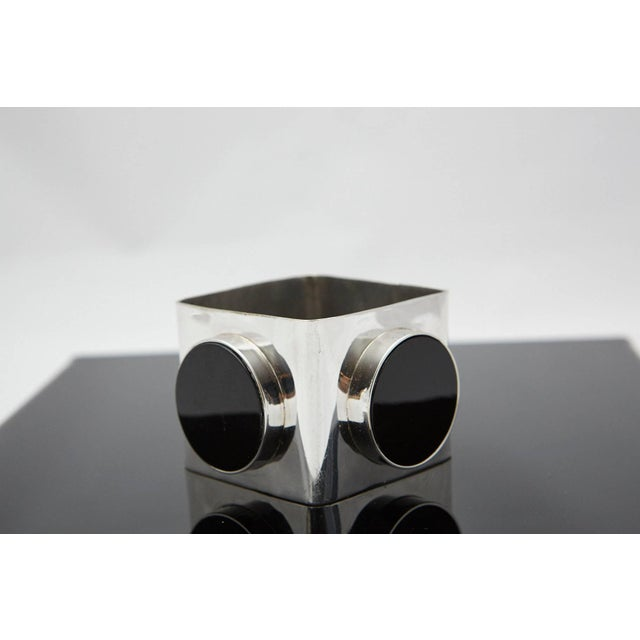 1970s Large Square Silver Bangle With Three Circular Onyx Stones, Circa 1970s For Sale - Image 5 of 7
