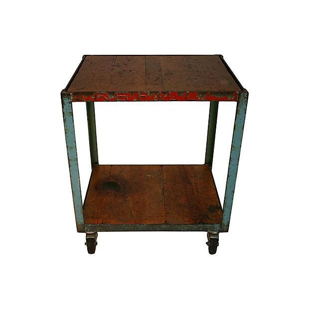 Distressed Industrial Bar Cart For Sale