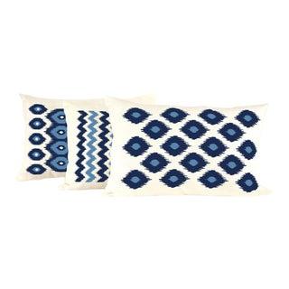 Aqua & Navy Lumbar Linen Pillow Set- 3 Pieces For Sale