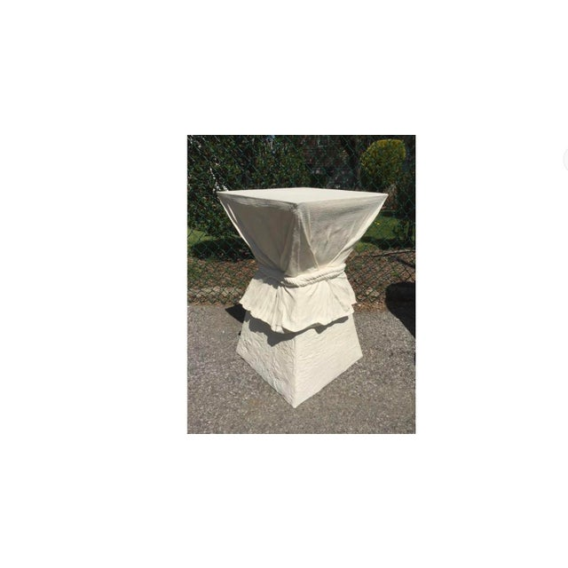 A single white floating end side or nightstand lamp table and or a pedestal in the manner of John Dickinson, we provide...
