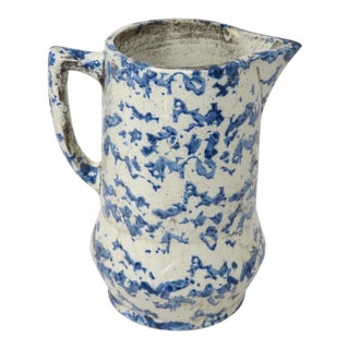 1900s Cottage American Stoneware Pitcher For Sale