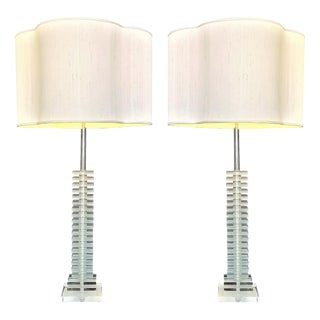 Vintage Art Deco Skyscraper Stacked Lucite and Chrome Table Lamps - a Pair - Mid Century Modern Palm Beach Boho Chic For Sale
