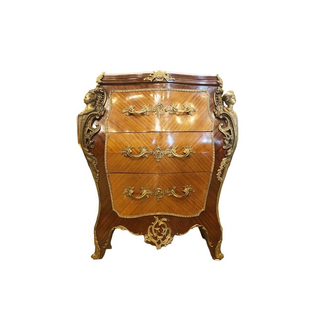 1920's French Louis XV Bombé Marquetry Chest For Sale