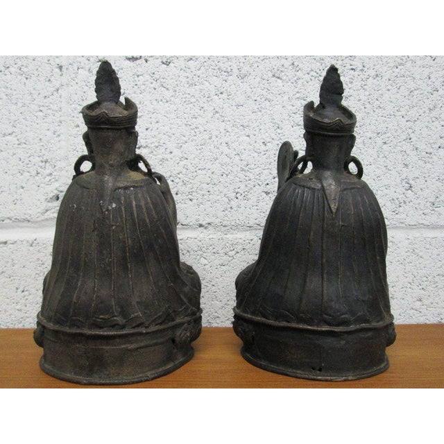 Late 18th Century Pair Bronze Buddha Statues For Sale - Image 5 of 10