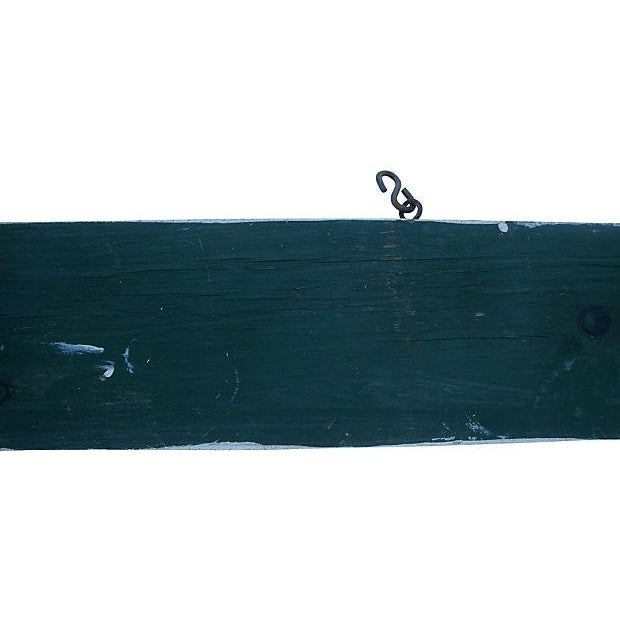 Metal Vintage Rustic Painted Blue Wood Hanging Sign For Sale - Image 7 of 7