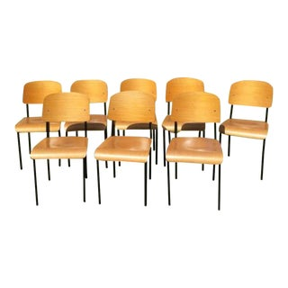 Jean Prouve Stylish Bentwood Office Chairs - Set of 8 For Sale