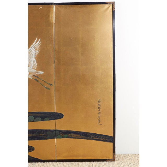 Early 20th Century Japanese Six-Panel Meiji Screen of Egrets on Gold Leaf For Sale - Image 5 of 13