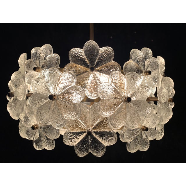 Small Ernst Palme Floral Glass Chandelier For Sale - Image 9 of 10