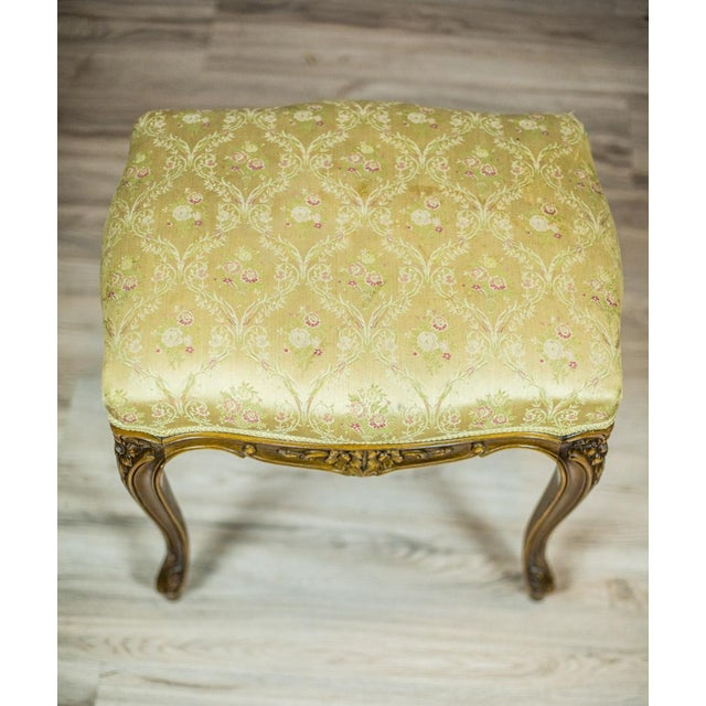 Wood Wooden, Upholstered Stool in the Rococo Type, circa 1950s-1960s For Sale - Image 7 of 8