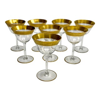 1930s Vintage Tiffin Franciscan Gold Paneled Liquor Coridal Glasses - Set of 8 For Sale