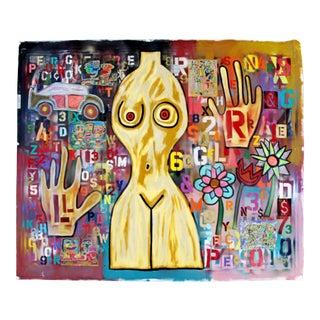 Contemporary Acrylic Graffiti Art Painting Canvas Rodney Denne Suburban Venus For Sale