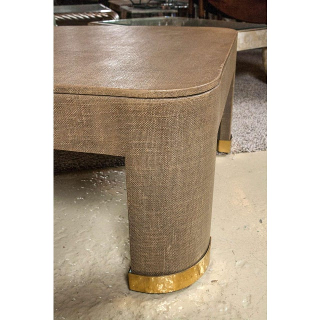 Karl Springer Style Linen Coffee Table For Sale - Image 5 of 5