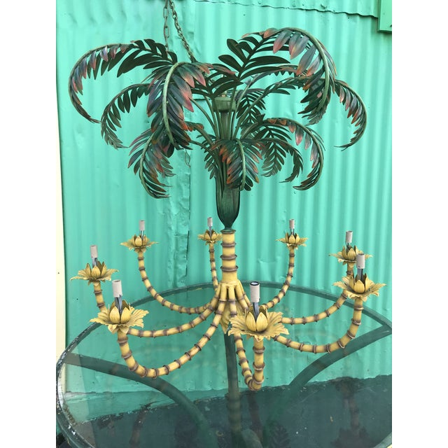 Large Palm Tree Leaf Faux Bamboo Metal Chandelier For Sale - Image 13 of 13