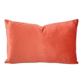"F. Schumacher Sophia Velvet in Persimmon Lumbar Pillow Cover - 12.5"" X 20"" Solid Coral Velvet Rectangle Cushion Case For Sale"