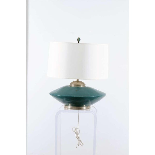 1950s Stunning Pair of Turquoise Ceramic and Silver Lamps by Orno For Sale - Image 5 of 10