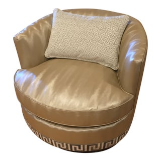 Custom Kravet Provo Swivel Chair + Pillow For Sale