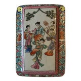 Image of Antique Asian Enameled Hand Painted Porcelain and Silver Filigree Box For Sale