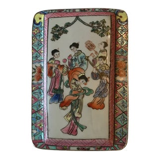 Antique Asian Enameled Hand Painted Porcelain and Silver Filigree Box For Sale