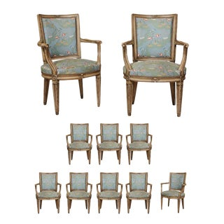 Mid-Century Louis XVI Style Painted Armchairs - Set of 10