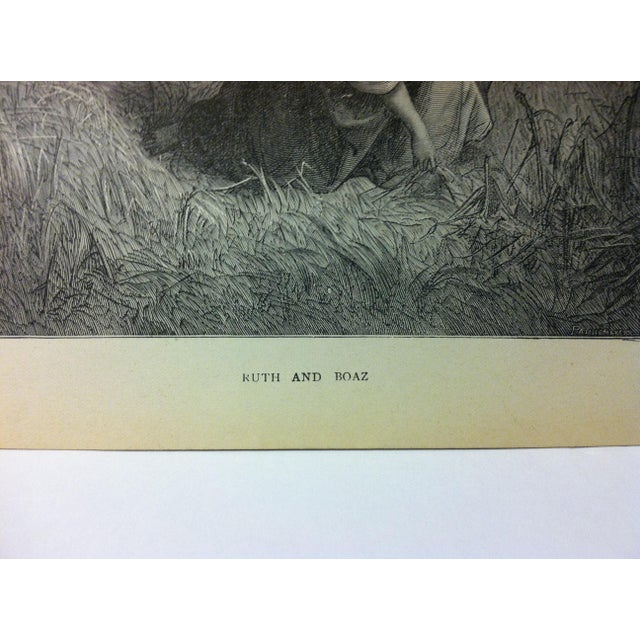"Abstract Expressionism Antique Gustave Dore Illustrated Print on Paper, ""Ruth and Boaz"", 1901 For Sale - Image 3 of 4"
