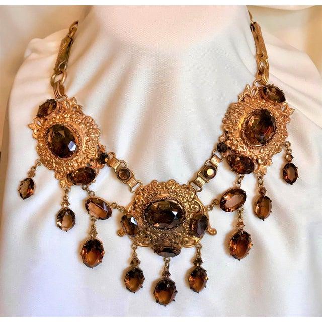 Metal 1950 Gold Tone Smoky Topaz Glass Bib Necklace For Sale - Image 7 of 7