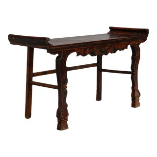 Carved Elm and Pine Chinese Altar Table with Original Red Paint For Sale