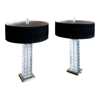 Pair Mid Century Stacked Lucite Blocks Table Lamps by Coronet For Sale