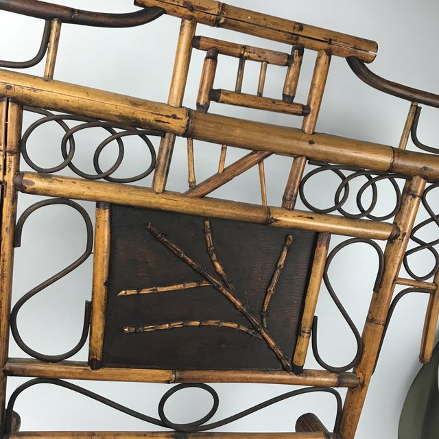 Aesthetic Movement Vintage Bamboo Standing Fireplace Screen Table Top Room Screen For Sale - Image 3 of 9