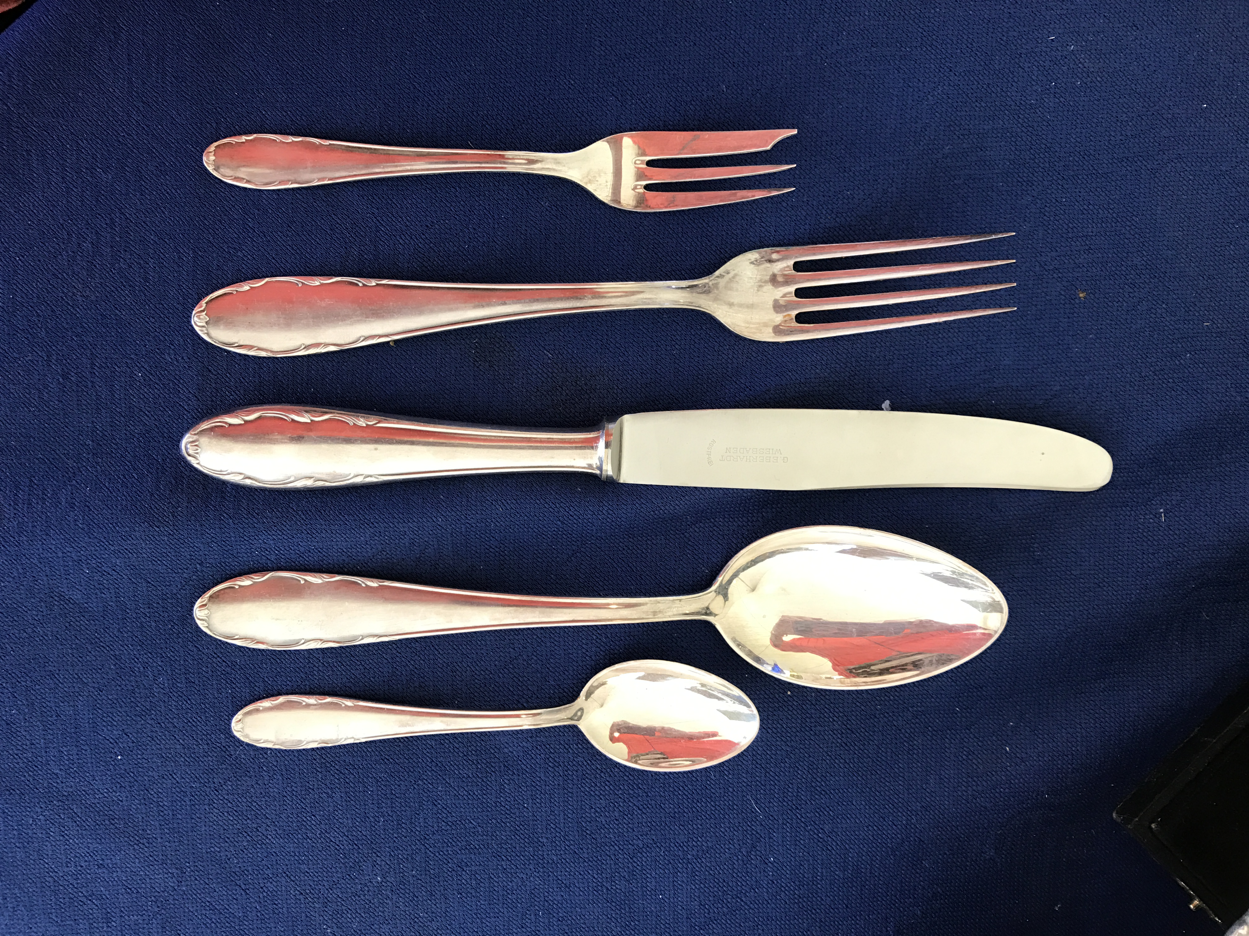 Excellent Vintage German Silver Plated Flatware Serving Set | Chairish FL77